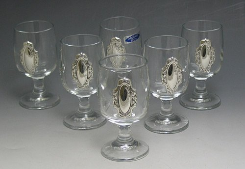 Crystal & Sterling Cup Set of 6