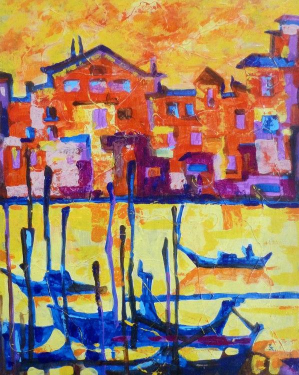 "Akimova: VENICE, cityscape, acrylic, 16""x20"""