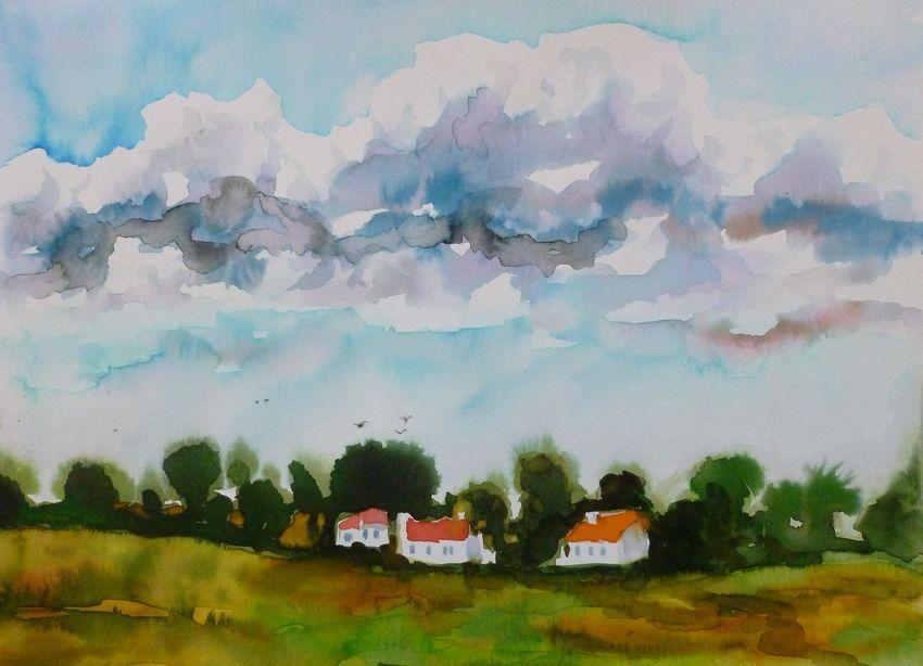"Akimova: STORM COMING, sky, cloud, watercolor, approx. size 14""x11"""