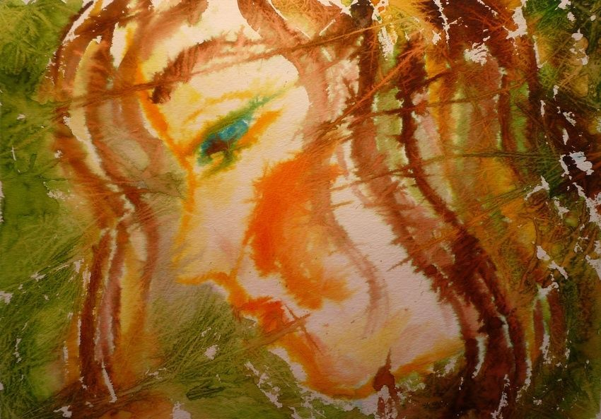 """Akimova: SPRING, abstract, watercolor, girl, approx. size 14""""x11"""""""