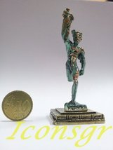 Ancient Greek Zamac Keyring Miniature Statue of Hermes (Green-gold Oxidication) - $12.64