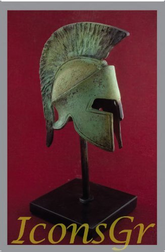 Ancient Greek Bronze Museum Replica of Spartan Helmet on a Base (1349-1)