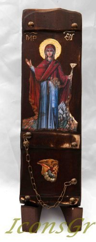 Wooden Greek Christian Orthodox Wood Icon of Mother of Jesus / N7 [Kitchen]