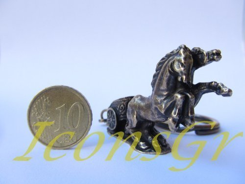 Ancient Greek Zamac Keyring Miniature Statue of Ancient Greek Chariot (Gold)