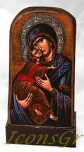 Wooden Greek Christian Orthodox Wood Icon of Mother of Jesus / Mp5_2 - $12.25