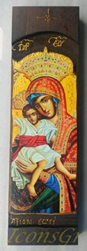 Wooden Greek Christian Orthodox Icon of Mother of Jesus Axion Esti /N20
