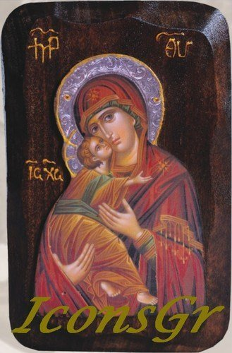Wooden Greek Christian Orthodox Wood Icon of Mother of Jesus & Jesus Christ /R2