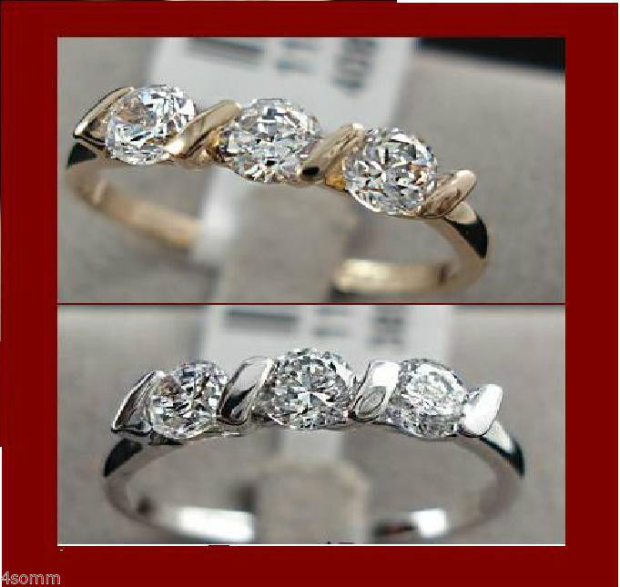 18K White Gold Plated 0.25ct 3 Pieces CZ Ladies Ring sz 6.5
