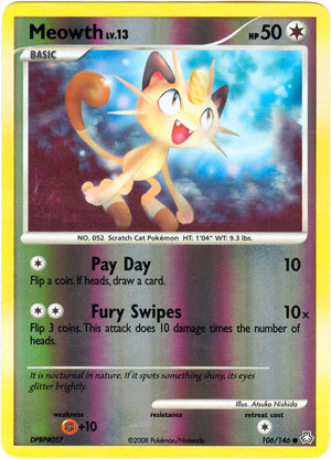 Meowth 106 reverse holo common legends awakened
