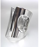 CHIC UNIQUE & GORGEOUS Shiny Silver Metal WIDE Hinged Cuff STATEMENT Bracelet - $18.80