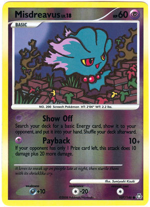 Misdreavus 107/146 Reverse Holo Common Legends Awakened Pokemon Card