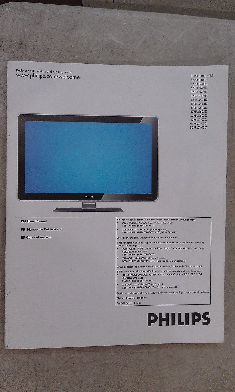 5EE46 PHILIPS LCD 52PFL7403D MANUAL, GOOD CONDITION