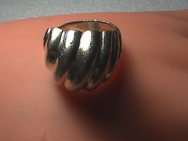 Sterling Silver Ribbed Dome Ring