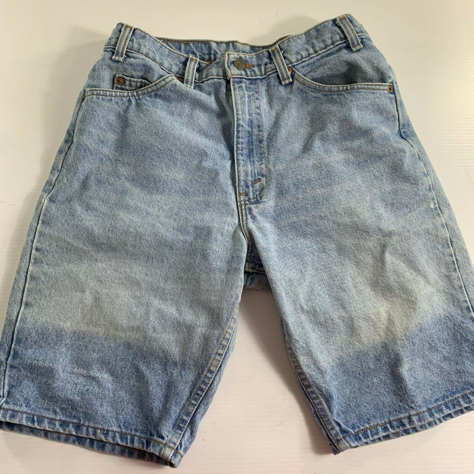 Primary image for Levis Womens Shorts Size W 33 Vintage Denim Blue Jean Distressed Light Wash USA