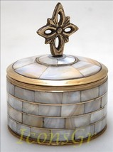 Handmade Greek Bronze Box with Fildisi (4084) [Kitchen] - $38.02