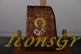 Wooden Greek Orthodox Wood Icon of Saint Nicolas / B5 [Toy] - $44.98
