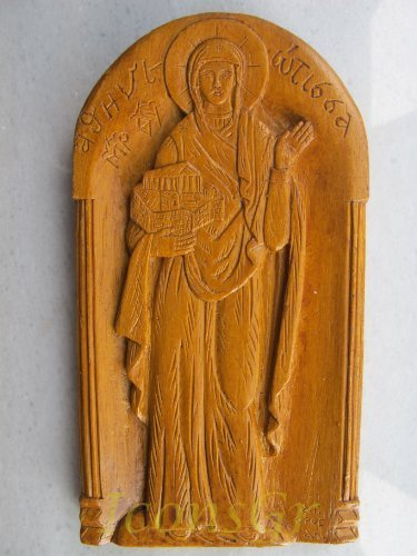 Handmade Carved Aromatic Wax Icon Blessed From Mount Athos of Virgin Mary 5