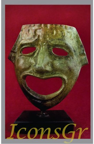 Ancient Greek Bronze Museum Statue Replica of Theatrical Mask of Comedy (1421)