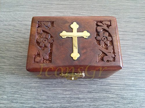 Handmade Christian Orthodox Wooden Olive Wood Storage Box with Decorative Cro...