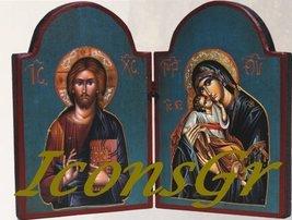 Wooden Greek Christian Orthodox Double Wood Icon / 2 [Kitchen] - $105.74
