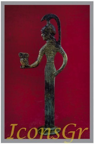 Ancient Greek Bronze Museum Statue Replica of Athena with Owl (1159) [Kitchen]