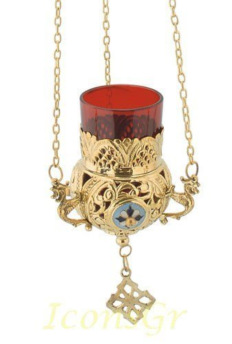Greek Christian Orthodox Bronze Oil Lamp with Chain- 9685g [Kitchen]