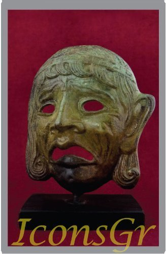 Ancient Greek Bronze Museum Statue Replica of Theatrical Mask of Tragedy (1446)