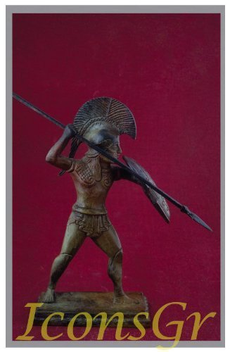 Ancient Greek Bronze Museum Statue Replica of Hoplite From Mikines (1624)