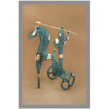 Ancient Greek Bronze Museum Statue Replica of Athena on Carriage of the ... - $119.95