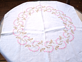 """Antique/Vintage Tablecloth, with Pink Embroidered Flowers.    30"""" Square.  #1790 - $21.99"""