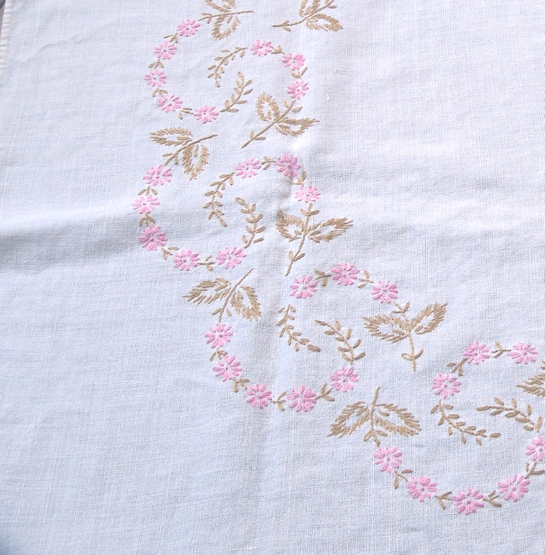 """Antique/Vintage Tablecloth, with Pink Embroidered Flowers.    30"""" Square.  #1790"""
