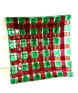 "Art Glass Decorator Plate Square 6"" x 6"" Green Brown Basket Weave Pattern - $8.90"