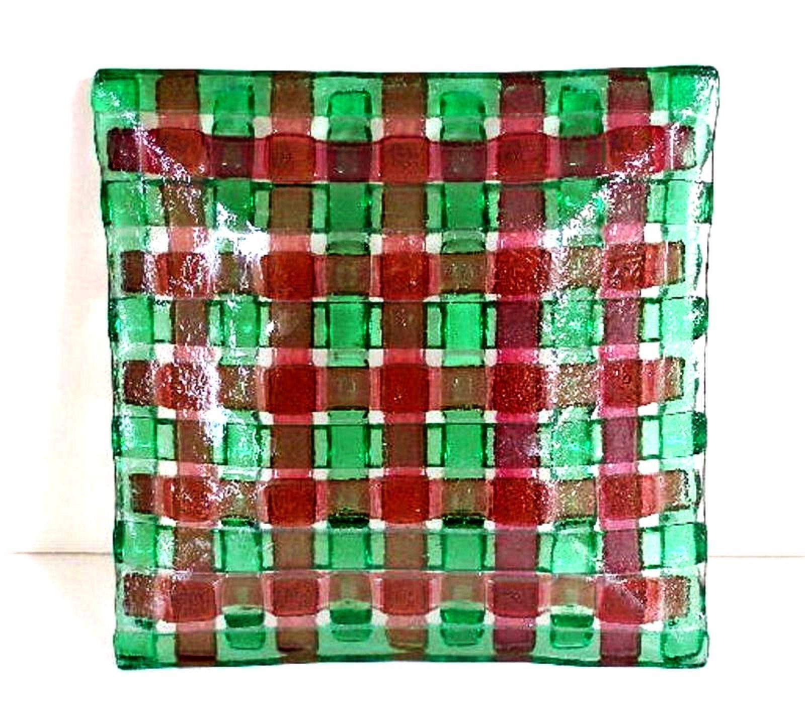 "Art Glass Decorator Plate Square 6"" x 6"" Green Brown Basket Weave Pattern"