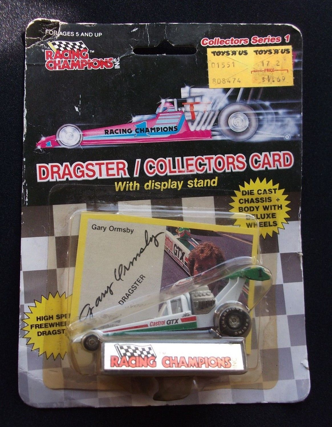 """RACING CHAMPIONS DRAGSTER SERIES 1 1989 GARY ORMSBY DIE CAST & CARD """"NEW"""""""