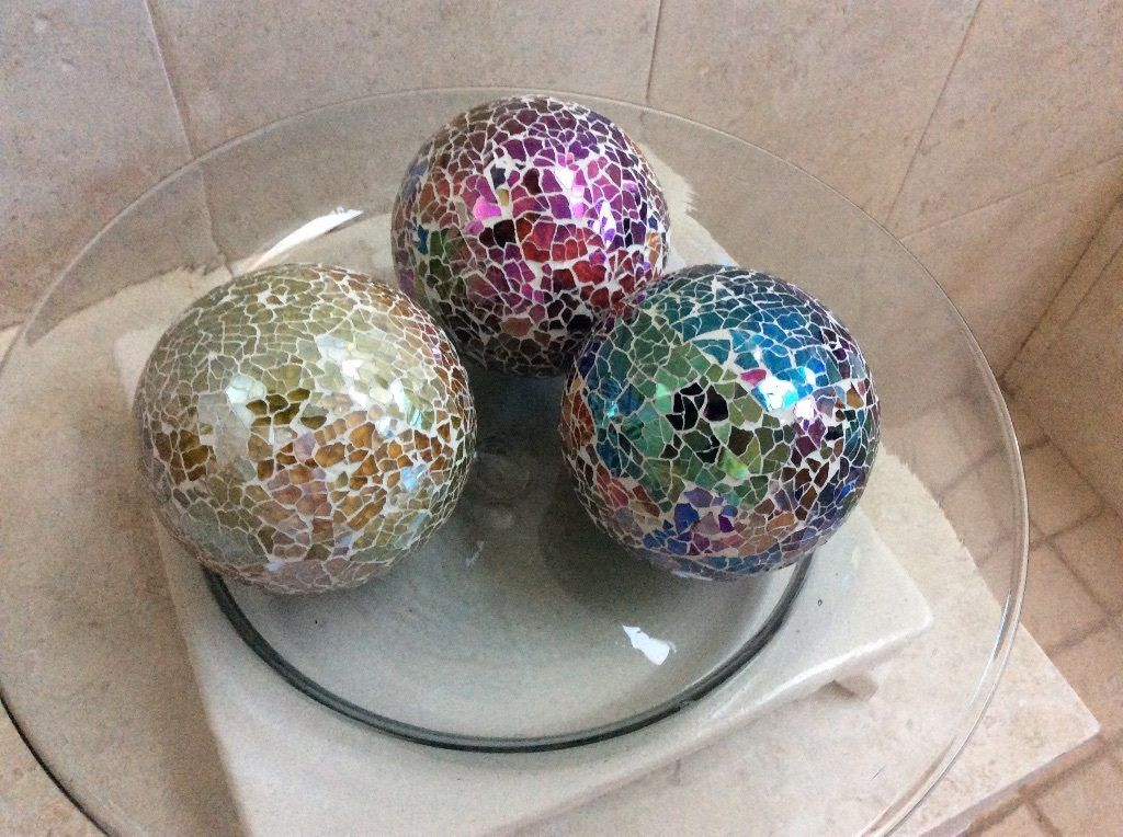 Decorative Mosaic Crystal Balls Set of 3. Beautiful Combination Rainbow of Color