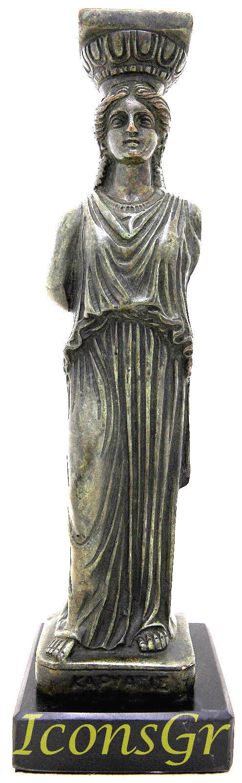 Ancient Greek Bronze Museum Statue Replica of Kariatis (1138)