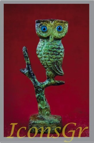 Ancient Greek Bronze Museum Statue Replica of Owl on a Podium (1547) [Kitchen]