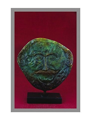 Ancient Greek Bronze Museum Statue Replica of Death Mask of King Agamemnon (1...