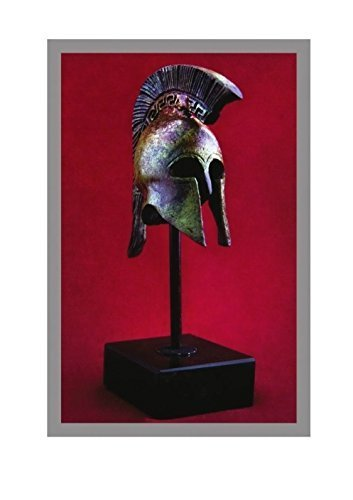 Ancient Greek Bronze Museum Replica of Athenian Helmet on a Base(1387-1)
