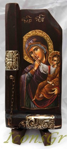 Wooden Greek Christian Orthodox Wood Icon of Mother of Jesus / P10 [Kitchen]