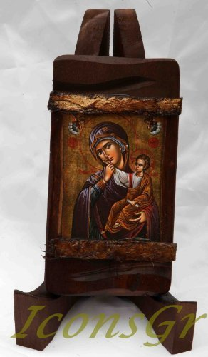 Wooden Greek Christian Orthodox Wood Icon of Mother of Jesus / Mp3_2
