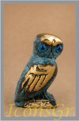 Ancient Greek Bronze Museum Statue Replica of Owl on a Podium (542) [Kitchen]