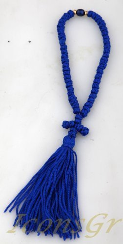 Handmade Christian Orthodox Blessed Komboskoini, Prayer Rope 50 Knots 1_blue