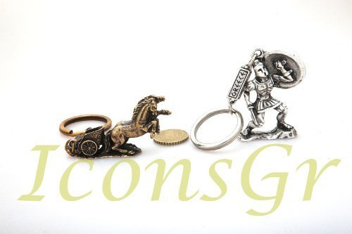 Ancient Greek Zamac Keyring Miniature Statue of Spartan King Leonidas & Chariot