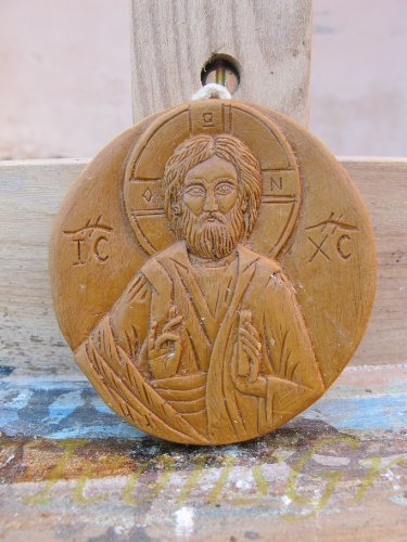 Handmade Carved Aromatic Icon Blessed From Mount Athos of Jesus Christ 196