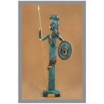 Ancient Greek Bronze Museum Statue Replica of Athena with Spear and Shie... - $173.56