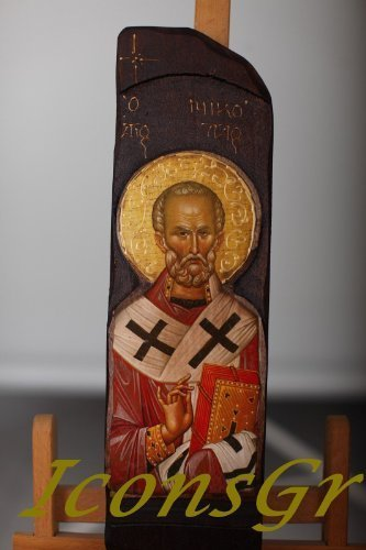 Wooden Greek Orthodox Wood Icon of Saint Nicolas / N10 [Toy]