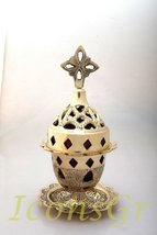 Greek Christian Orthodox Bronze Table Oil Lamp Gold Plated - 9353b [Kitchen] - $55.17