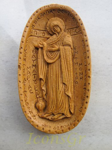 Handmade Carved Aromatic Wax Icon Blessed From Mount Athos of Virgin Mary 313