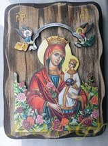 Wooden Greek Christian Orthodox Wood Icon of Mother of Jesus & Jesus Christ/r2l - $52.23